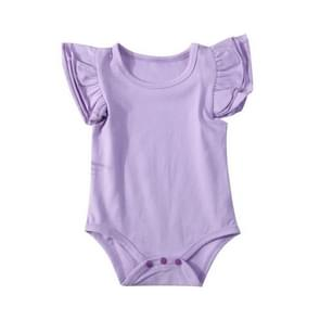 Summer Baby Cotton Ruffled Short-sleeved Round Neck Triangle Romper, Size:100cm(Purple)