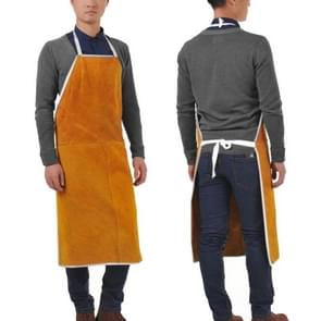 Full Leather Electric Welding Apron High Temperature Fireproof Star Splash Protective Clothing(Orange)