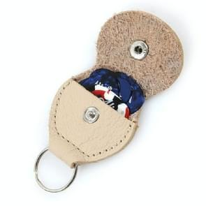 10 PCS Genuine Leather Guitar Pick Storage Bag with Key Ring, Color:Apricot