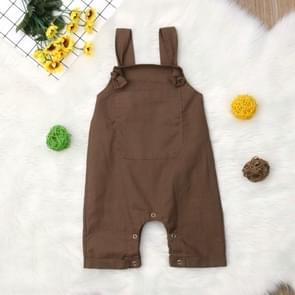 Infant Simple Bib Pants Jumpsuits Romper with Pocket, Size:70cm(Brown)