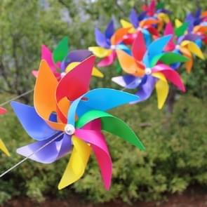 10 PCS Eight-leaf Colorful Plastic Windmill String Garden Outdoor Decoration Children Toys Diameter: 28 cm