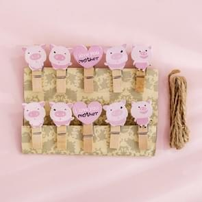 2 PCS Cartoon Hanging Photo Wall Decoration Hemp Rope Creative Colorful Wooden Clip(Pink Pig)