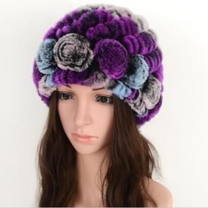 Real Rabbit Fur Grass Pineapple Hat Korean Version of the Women's Warm Earmuffs(Purple)