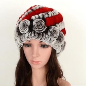 Real Rabbit Fur Grass Pineapple Hat Korean Version of the Women's Warm Earmuffs(Red and brown)