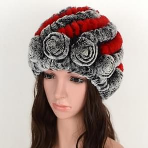 Real Rabbit Fur Grass Pineapple Hat Korean Version of the Women's Warm Earmuffs(Red and black)
