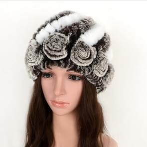Real Rabbit Fur Grass Pineapple Hat Korean Version of the Women's Warm Earmuffs(white and brown)