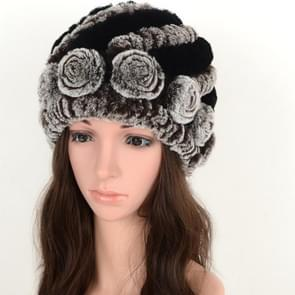 Real Rabbit Fur Grass Pineapple Hat Korean Version of the Women's Warm Earmuffs(black and black)