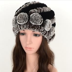 Real Rabbit Fur Grass Pineapple Hat Korean Version of the Women's Warm Earmuffs(black and brown)