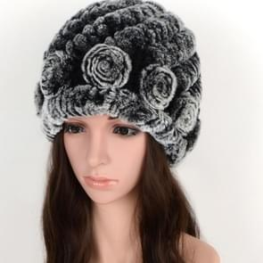 Real Rabbit Fur Grass Pineapple Hat Korean Version of the Women's Warm Earmuffs(double black)