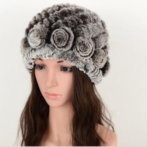 Real Rabbit Fur Grass Pineapple Hat Korean Version of the Women's Warm Earmuffs(double brown)