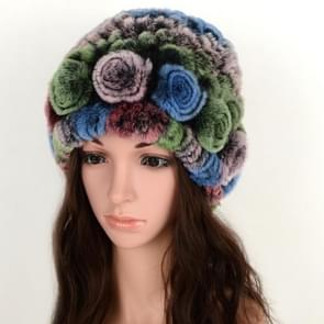 Real Rabbit Fur Grass Pineapple Hat Korean Version of the Women's Warm Earmuffs(Colorful 1)
