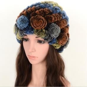Real Rabbit Fur Grass Pineapple Hat Korean Version of the Women's Warm Earmuffs(Colorful 3)