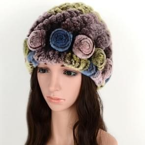Real Rabbit Fur Grass Pineapple Hat Korean Version of the Women's Warm Earmuffs(Colorful 4)