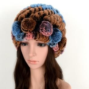 Real Rabbit Fur Grass Pineapple Hat Korean Version of the Women's Warm Earmuffs(brown)
