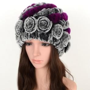 Real Rabbit Fur Grass Pineapple Hat Korean Version of the Women's Warm Earmuffs(Double black and purple)