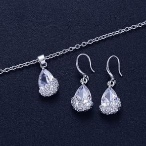 2 sets Fashion water drop Crystal Zircon ketting Stud Earrings Jewelry sets voor vrouwen (zilver)