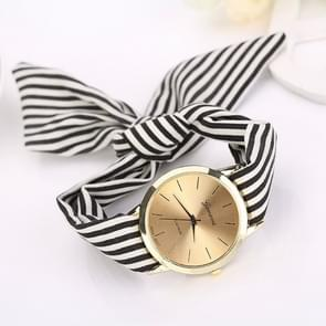Women Fashion Striped Fabric Strap Quartz Watch(Black)