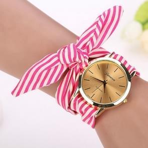 Women Fashion Striped Fabric Strap Quartz Watch(Rose red)