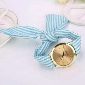 Women Fashion Striped Fabric Strap Quartz Watch(Baby Blue)