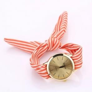 Women Fashion Striped Fabric Strap Quartz Watch(Orange)