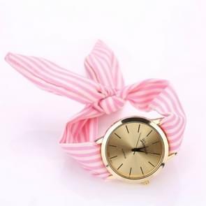 Women Fashion Striped Fabric Strap Quartz Watch(Pink)
