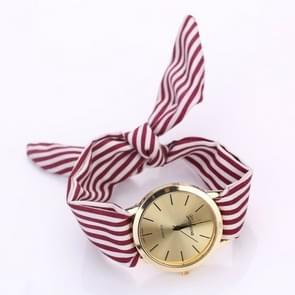 Women Fashion Striped Fabric Strap Quartz Watch(Red)