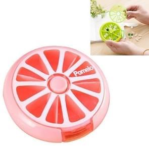 Mini pil vak grote capaciteit dragen drug Box roterende verpakking fruit pil vak (roze)