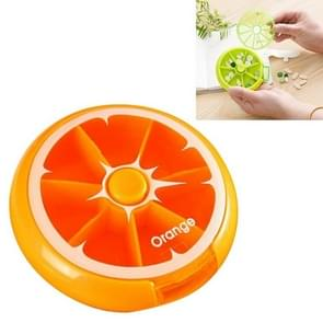 Mini Pill Box Large Capacity Carrying Drug Box Rotating Packing Fruit Pill Box(Orange)