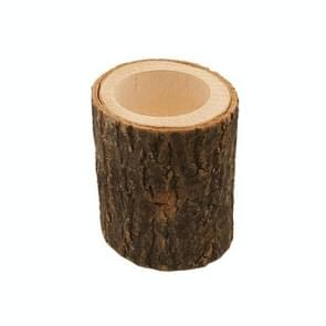 Wooden Crafts Ornaments Creative Bark Wood Pile Candle Holder Home Decoration, Without Candle, Style:Long