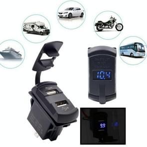 12-24V Motorcycle Car Boat USB Power Socket Plug Outlet With Voltmeter