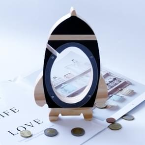 Noordse hout Rocket spaarpot speelgoed woonkamer decoratie Piggy Bank (zwart)