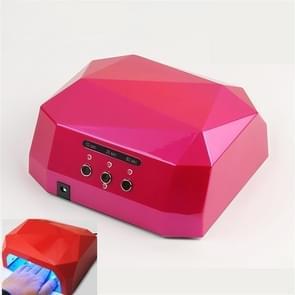 36W LED Nail Phototherapy Lamp Diamond Nail Quick Drying Grill  Plug Type:EU Plug(Rose Red)