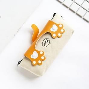 Cute Cats Big Capacity Canvas Pencil Case School Supplies Stationery(Orange)