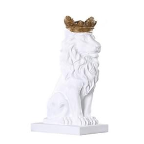 Creative Modern Gold Crown Lion Statue Animal Figurine Sculpture For Home Decorations(White)