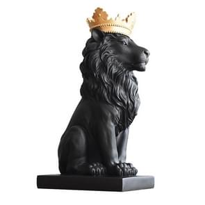 Creative Modern Gold Crown Lion Statue Animal Figurine Sculpture For Home Decorations(Black)