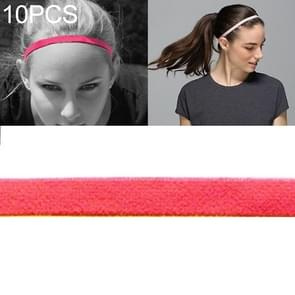 10 PCS Elastic Rope Candy Color Sports Yoga Hair Band Hoofdband Sweat Band (Fluorescerende Oranje)