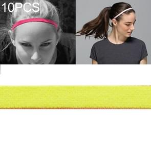 10 PCS Elastic Rope Candy Color Sports Yoga Hair Band Hoofdband Sweat Band (Fluorescerend geel)