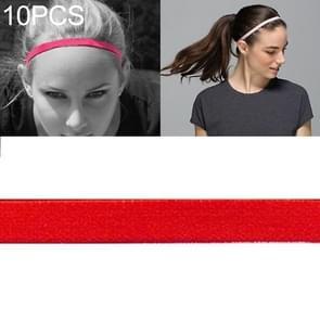 10 PCS Elastic Rope Candy Color Sports Yoga Hair Band Hoofdband Sweat Band (Scarlet)