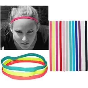10 PCS Elastic Rope Candy Color Sports Yoga Hair Band Hoofdband Sweat Band(Zwart)