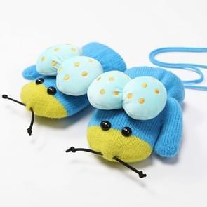 Winter schattig lieveheersbeestje vorm plus fluweel warme wanten opknoping nek handschoenen kinderen handschoenen blauw
