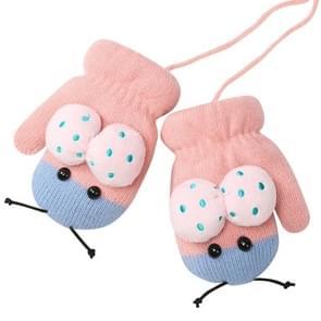 Winter schattig lieveheersbeestje vorm plus fluweel warme wanten opknoping nek handschoenen kinderen handschoenen roze