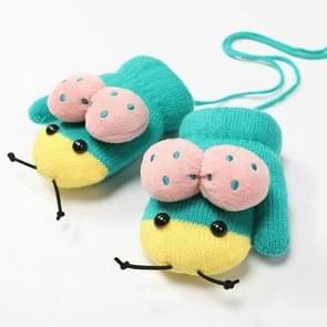 Winter schattig lieveheersbeestje vorm plus fluweel warme wanten opknoping nek handschoenen kinderen handschoenen groen