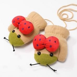 Winter schattig lieveheersbeestje vorm plus fluweel warme wanten opknoping nek handschoenen kinderen handschoenen kaki