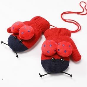 Winter schattig lieveheersbeestje vorm plus fluweel warme wanten opknoping nek handschoenen kinderen handschoenen rode wijn