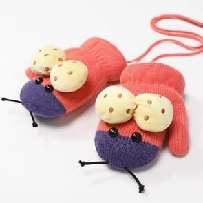 Winter schattig lieveheersbeestje vorm plus fluweel warme wanten opknoping nek handschoenen kinderen handschoenen watermeloen rood