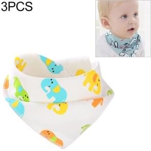 3 PCS Newborn Baby Bibs Cotton Soft Baby Smock Bibs(Cute Elephant)