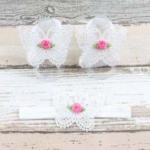 3 PCS Flower Headband Baby Barefoot Sandals Foot Accessories Hair Accessory(White Small Flowers)
