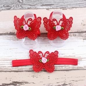3 PCS Flower Headband Baby Barefoot Sandals Foot Accessories Hair Accessory(Red Small Flowers)