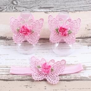 3 PCS Flower Headband Baby Barefoot Sandals Foot Accessories Hair Accessory(Pink Big Flowers)