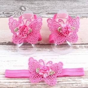 3 PCS Flower Headband Baby Barefoot Sandals Foot Accessories Hair Accessory(Large Flowers Rose Red)